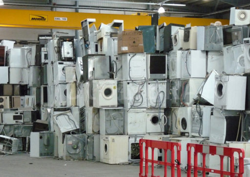 Scrap white goods in a recycling centre